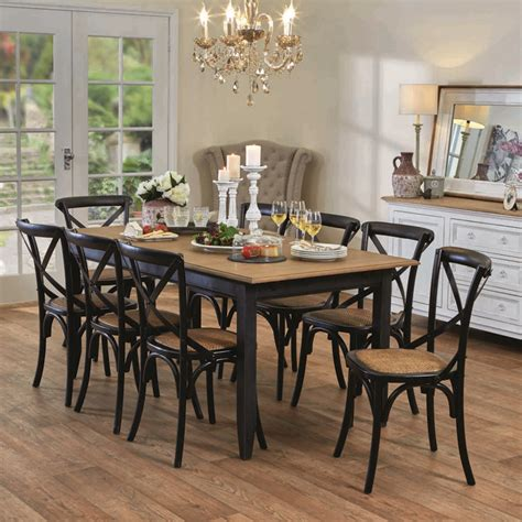 Early Settler Dining Table Esquisse Dining Table In Black And Provincial Cross Back Chairs In Black Country