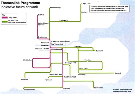 thameslink timetable 2018 the map shows the planned rail routes once the programme