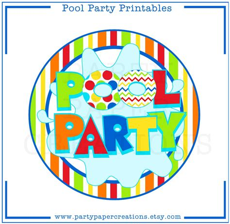 printable pool party decorations instant download party printables pool party tablescape