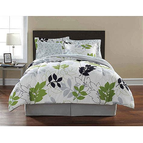 green and grey bedding green leaves gray leaf comforter sheets sham set dorm teen