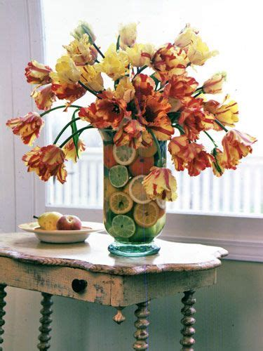 Flower Arrangements With Fruit In Vase by Tulip Parrots And Vase On