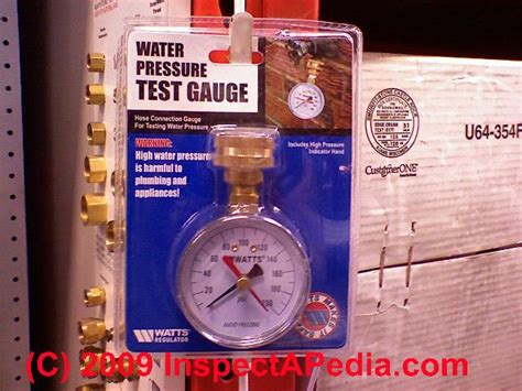potable water pressure gauge auto forward to correct web page at inspectapedia