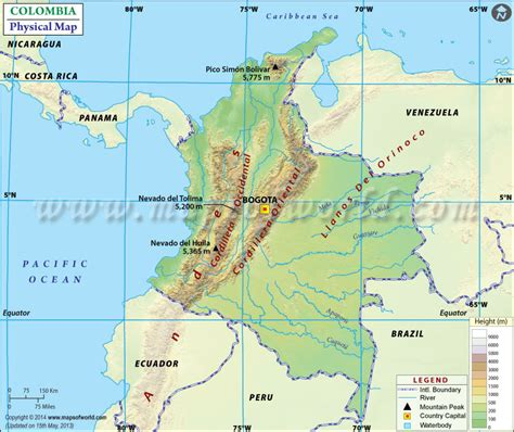 physical map of colombia colombia mountains map