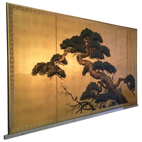 knox decorative painting byobu antique japanese screen painting four panels