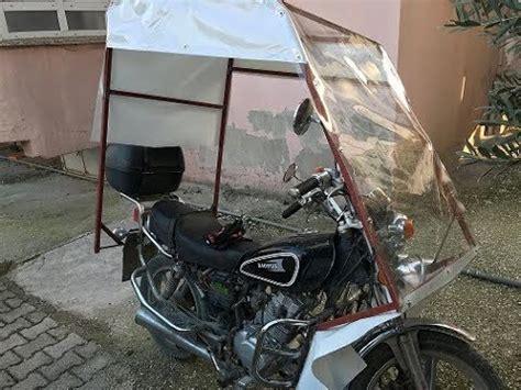 motosiklet uezerine yagmurluk cadir kislik tente yapimi