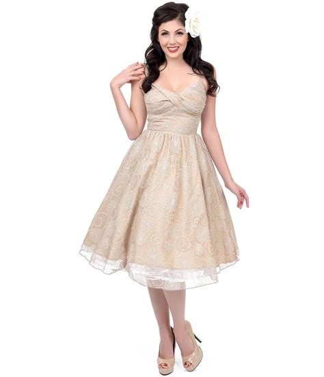 unique vintage swing dress stop staring 1950s style taupe lace darla swing dress