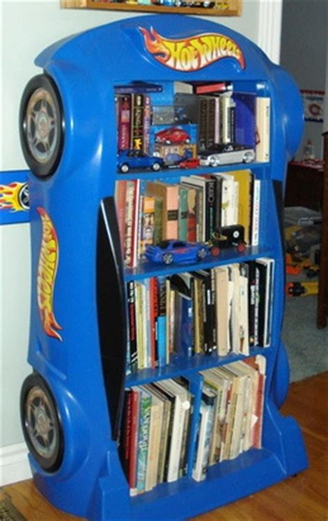 wheels bookcase toys and model cars