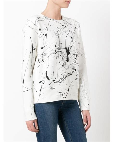 White Color Paint Sweater polo ralph paint splash sweater in white lyst