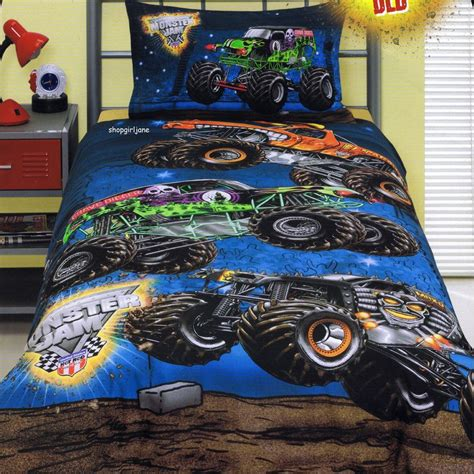 monster truck comforter monster jam grave digger double us full bed quilt