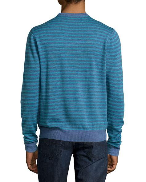 Sweater Original original penguin striped crew neck sweater in blue for vintage in lyst