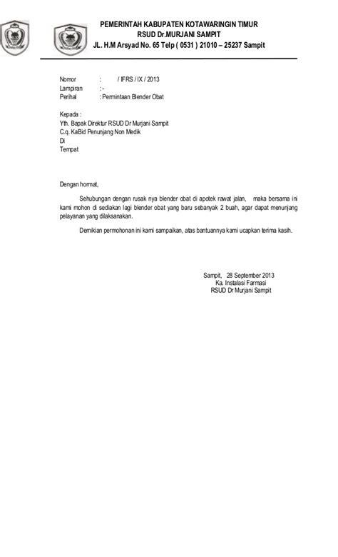 Surat Permintaan by Surat Permintaan Blender Obat Ke Pa Riwis