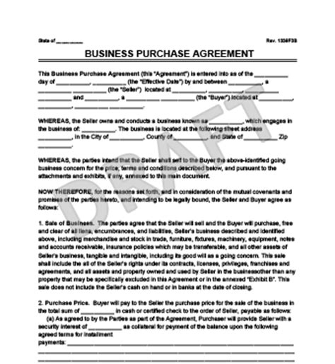 purchase of business agreement template free create a business purchase agreement templates