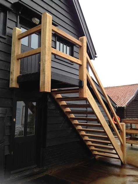 Modern Barn House external timber staircase 1