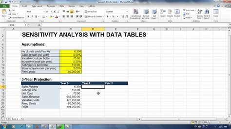 Sensitivity Analysis Excel Template Exercise 5 1 Sensitivity Analysis Building The Spreadsheet Model Youtube