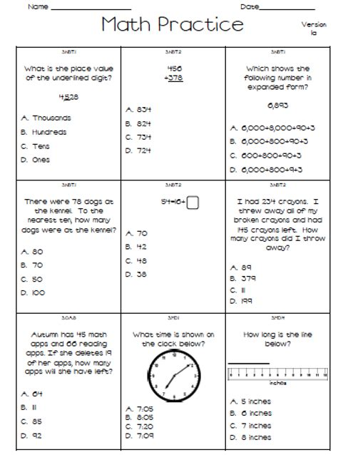2nd Grade Test Prep Worksheets by Math Assessment Test 2nd Grade Mighty Math 2nd Grade