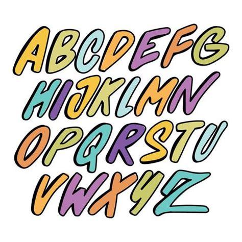 colorful graffiti alphabet   vectors