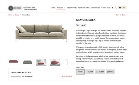 Description Of Sofa product descriptions for furniture and homeware