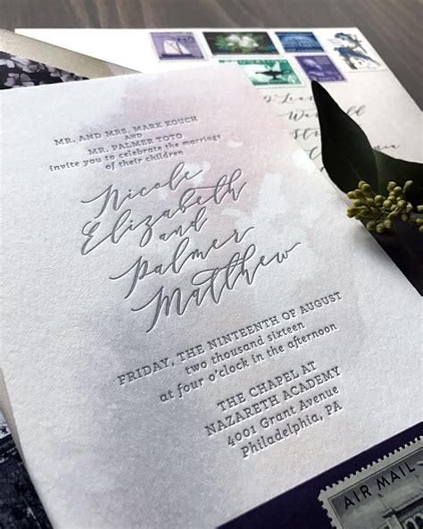 wedding invitations city philadelphia purple and gray watercolor wash wedding invitations