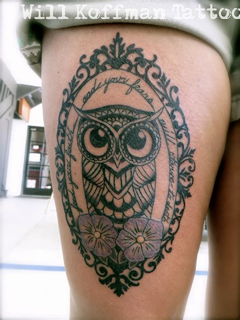simple victorian tattoo traditional owl tattoo black and grey