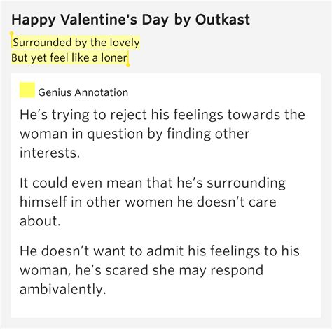 happy valentines day lyrics surrounded by the lovely but yet feel like a loner
