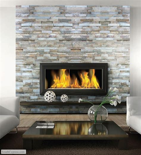 fireplace inspiration ledgestone wall floating mantel