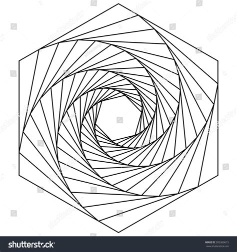 spiral pattern drawing machine hexagon spiral line drawing logo design stock vector