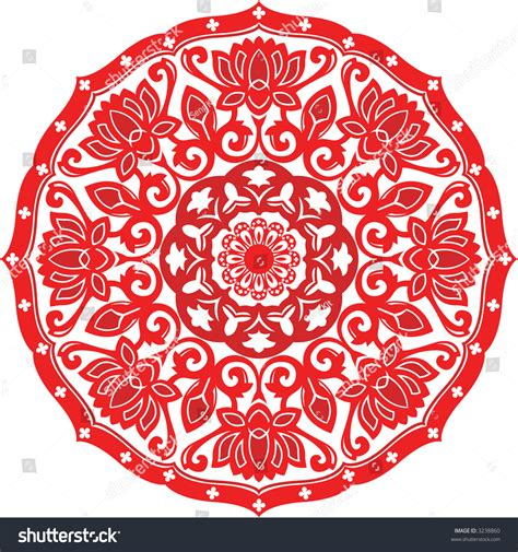 new year paper cutting patterns paper cut design lotus stock vector