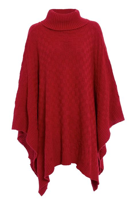 womens knit poncho womens grid knitted wrap polo cowl turtle neck poncho