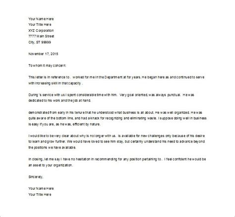template for letter of recommendation for employment