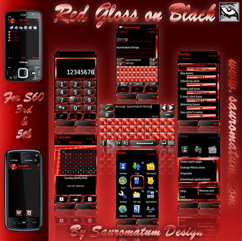 hot themes for symbian symbian theme red gloss on black download cell phone