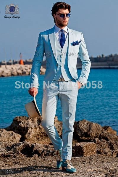 Spring Men's Suits 2016 Custom Made Light Blue Men Suits
