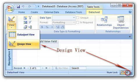 web layout view office 2007 where is design view in microsoft access 2007 2010 2013