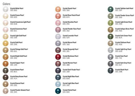 pearl color swarovski pearl color chart bead color charts
