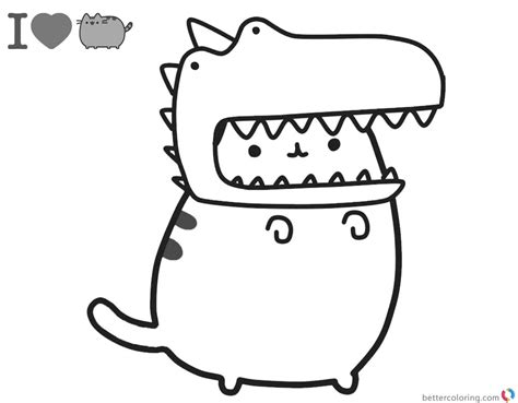 printable coloring pages pusheen pusheen coloring pages cute dinosaur hat free printable