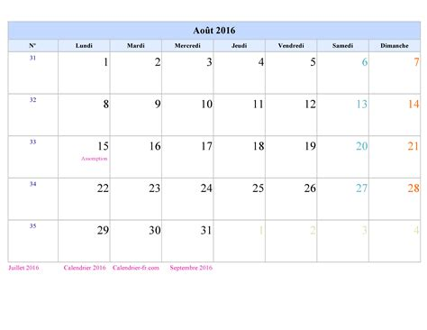Calendrier Aout Calendrier Ao 251 T 2016
