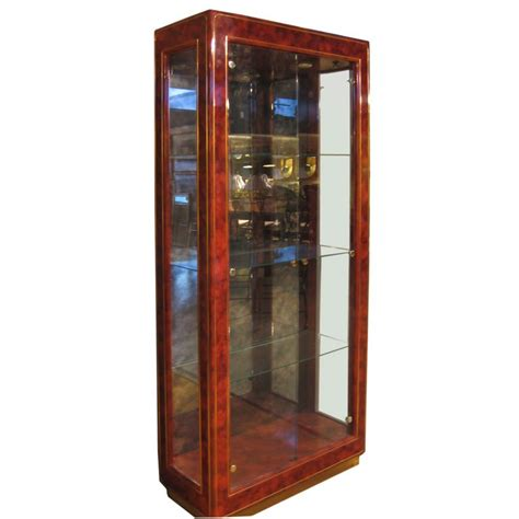 Presentation Cabinet Lacquered Wood And Glass Display Cabinet By Mastercraft At