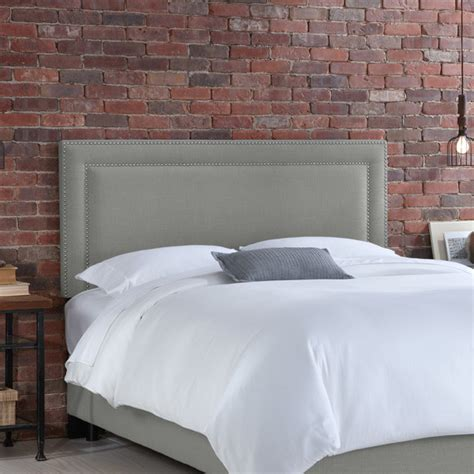 Gray Headboards by Nail Button Border Headboard Linen Gray