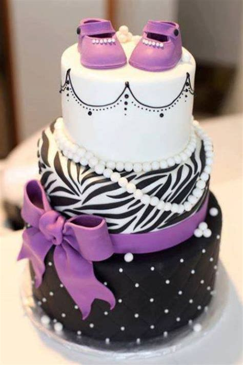 Pretty Baby Shower Cakes by Purple Black And White Baby Shower Cake For A