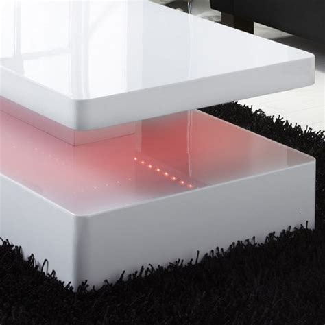 Tiffany White High Gloss Rectangular Coffee Table With Led Coffee Tables With Led Lights
