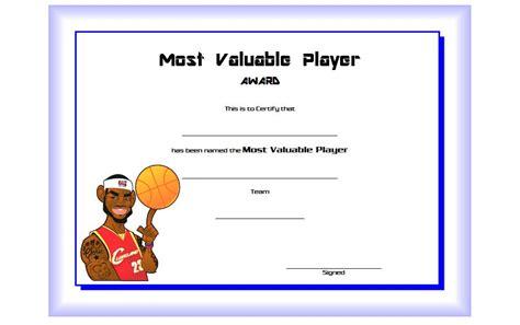 basketball mvp certificate template mvp certificate templates best 10 templates