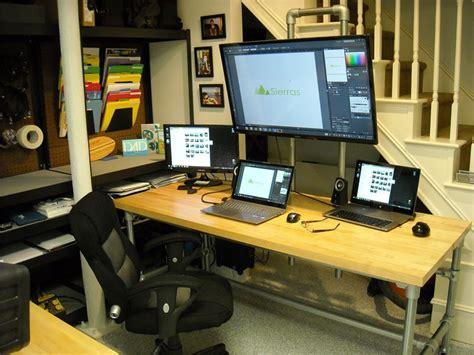 monitor desk pole mounted monitor desk
