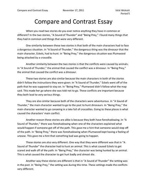 Sle Essay Compare And Contrast sle of comparison and contrast essay 28 images conflicts in society essay auto sales manager