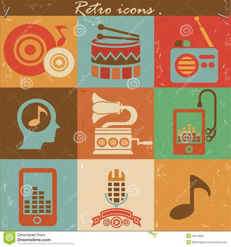 how to make a retro icon style using the appearance panel music retro icons royalty free stock photos image 35514598