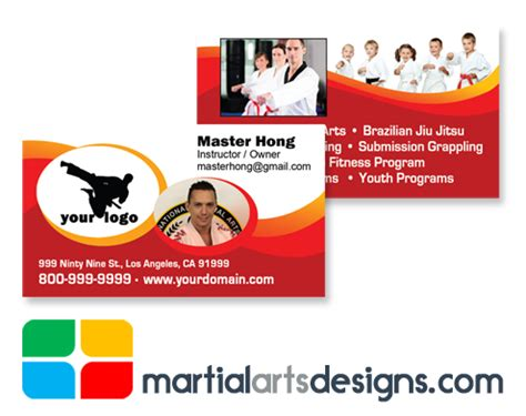Martial Arts Business Card Templates by Martial Arts Business Cards Ma020010