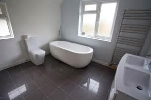 Grey Tiled Bathroom Ideas fab oval tub over grey ceramic floor tiled and double