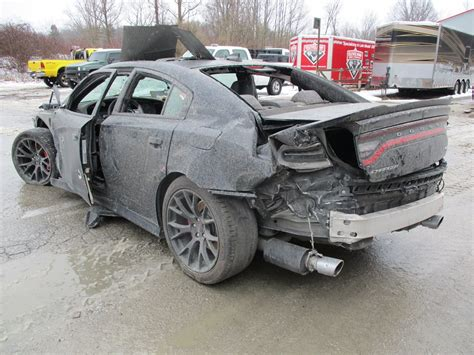 crashed dodge challenger for sale wrecked dodge charger hellcat shows up for sale is