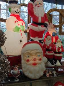 vintage blow mold christmas decorations santa is all lit