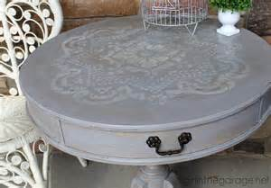 Ballard Design Tables distressed stenciled round table makeover girl in the