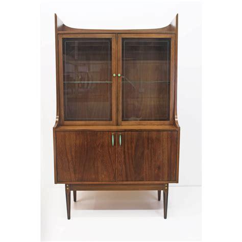 vintage kroehler hutch china cabinet original teal