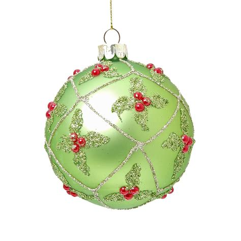 gisela graham matte green holly trellis bauble christmas